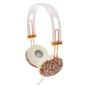 Crushed Rose Gold Crystal Headphones