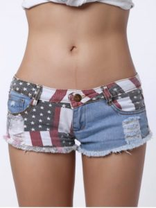 Low-Waisted Striped Star American Flag Denim Shorts