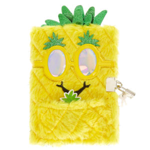 Yellow Holographic Pineapple Plush Journal