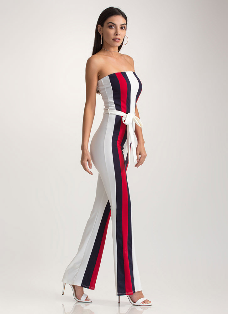 Stylish Flair Striped Strapless Jumpsuit