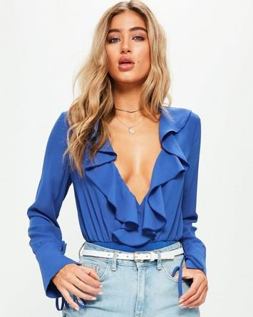 blue long sleeved frill wrap bodysuit