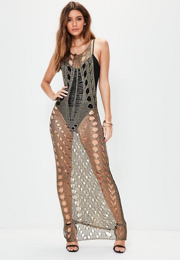 bronze detailed metallic knitted maxi dress