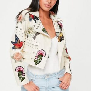 cream badge studded faux leather biker jacket