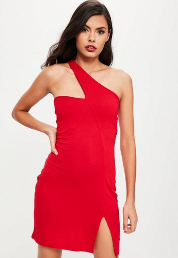 red asymmetrical neck bodycon dress