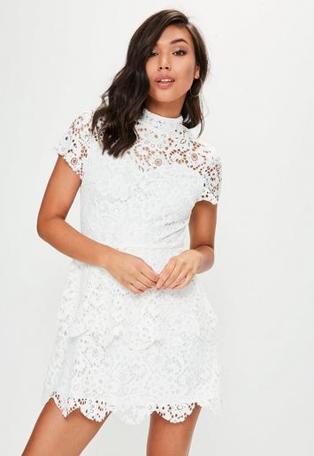 white short sleeve lace double layer dress
