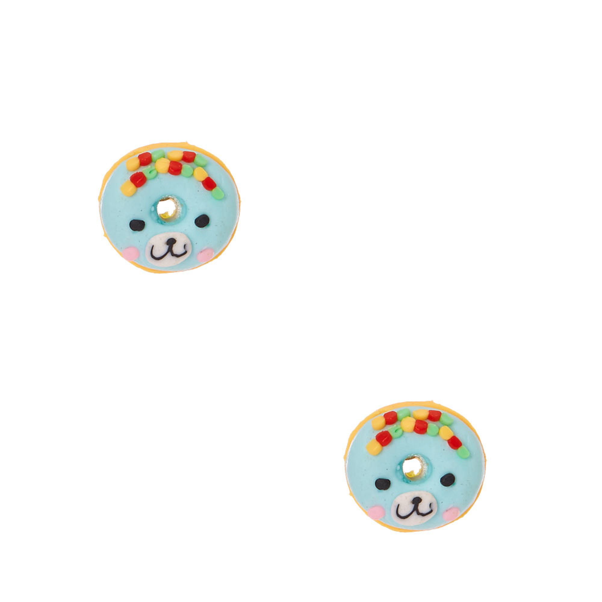 Bear-ry Blue Donut Stud Earrings
