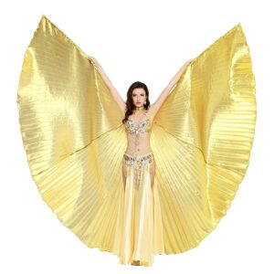 Dance Fairy Belly Dance 360 Degree Isis Wings with Portable Flexible Sticks - GOLD
