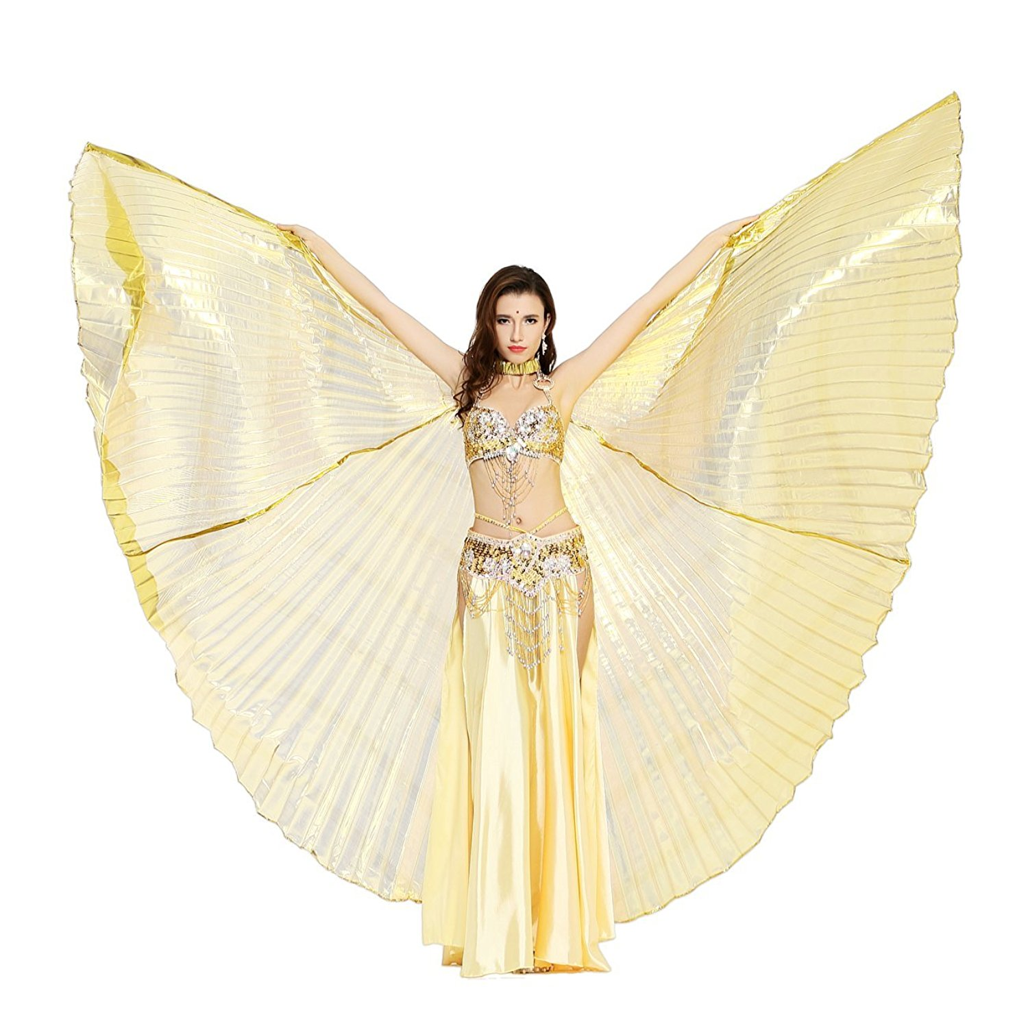 Dance Fairy Belly Dance 360 Degree Isis Wings with Portable Flexible Sticks - GOLD (HALF TRANSPARENT)