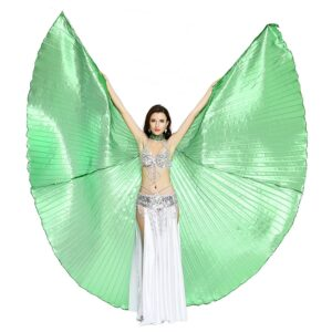 Dance Fairy Belly Dance 360 Degree Isis Wings with Portable Flexible Sticks - GREEN