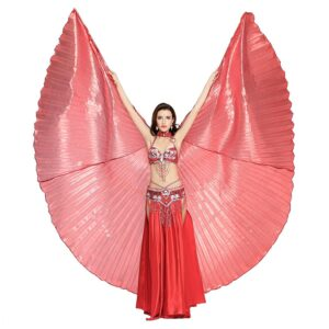 Dance Fairy Belly Dance 360 Degree Isis Wings with Portable Flexible Sticks - RED