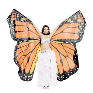 Dance Fairy Belly Dance Butterfly Angel Isis Wings with Telescopic Sticks - ORANGE/BLACK