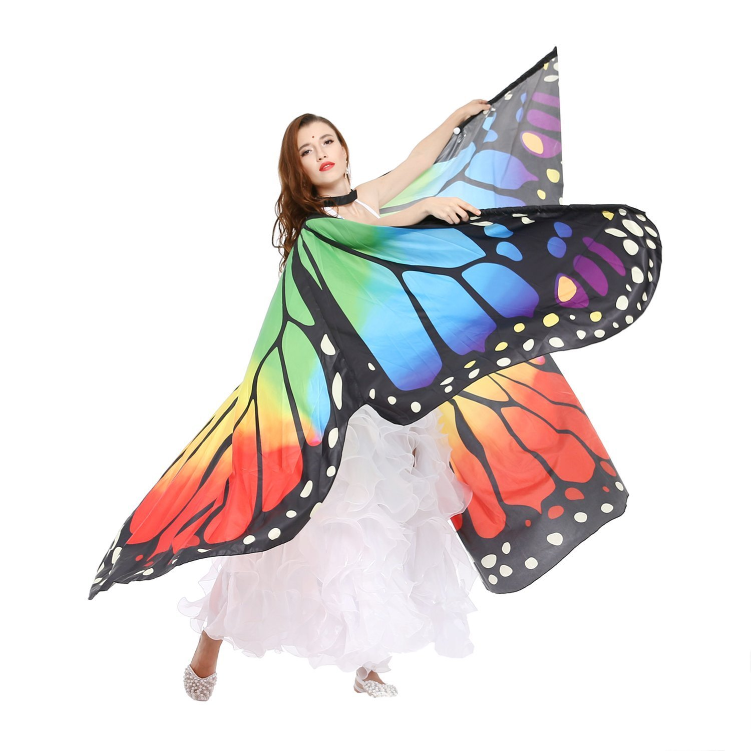 Dance Fairy Belly Dance Butterfly Angel Isis Wings with Telescopic Sticks - RAINBOW