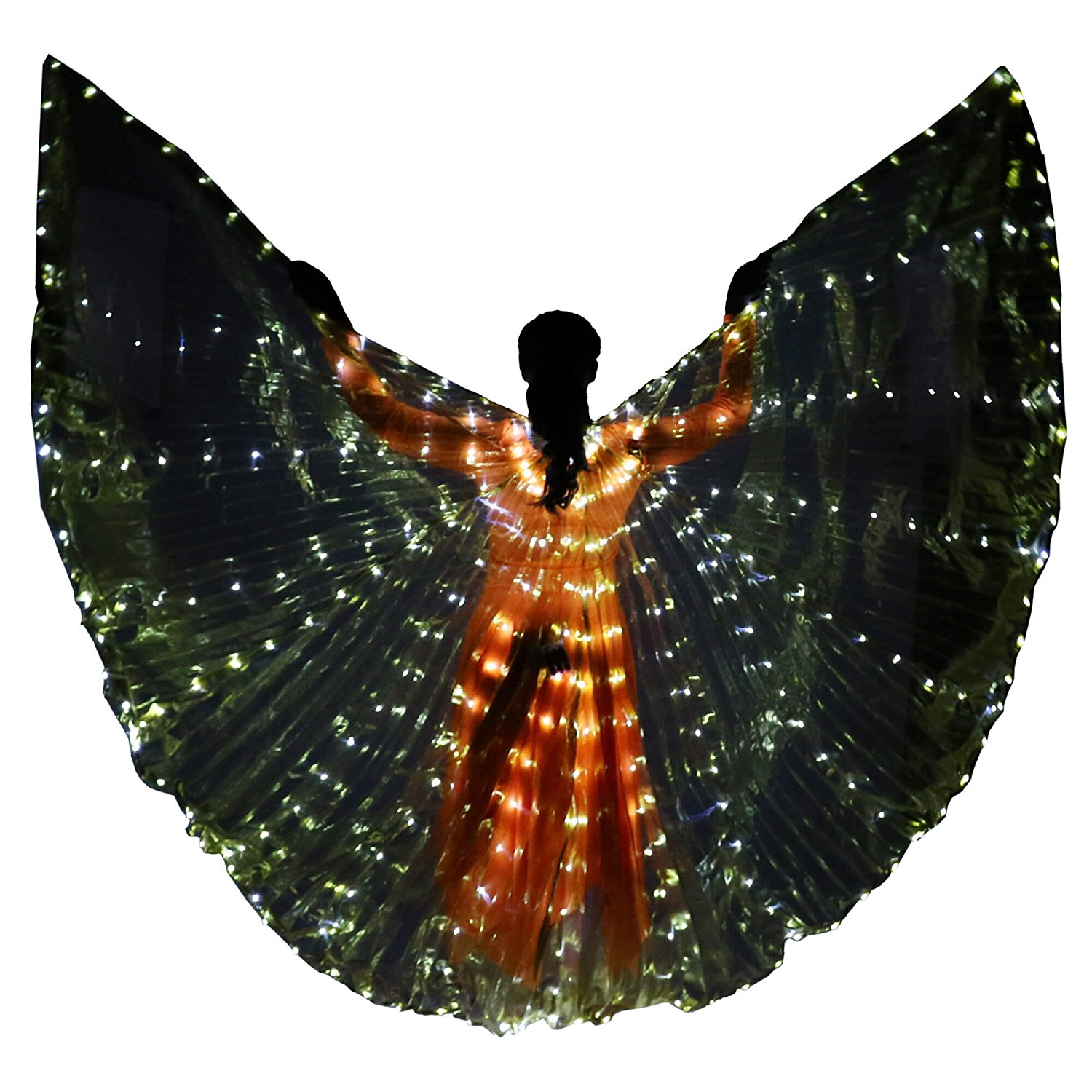 Danzcue Women's Transparent Gold Costume Angel LED Wing with Sticks