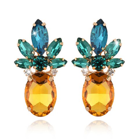 Faux Crystal Pineapple Shape Earrings - Yellow