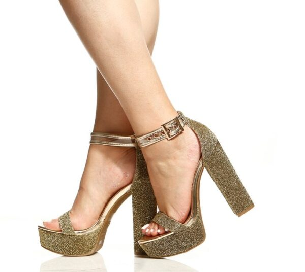 Gold Glitter Piped Platform Ankle Strap Heels