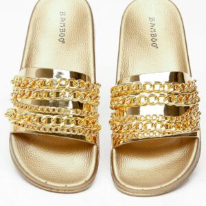 Gold Patent Leather Chain Slide Sandals