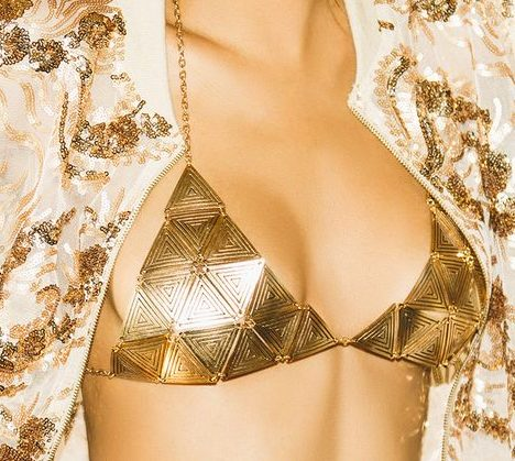 Benia Gold Triangle Chain Bra