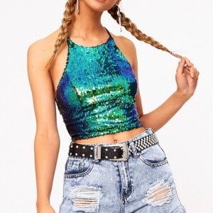 Green Sequin Backless Crop Top