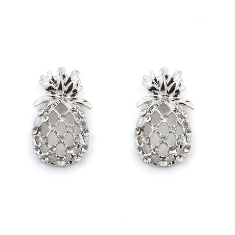 Hollow Out Pineapple Shape Earring - Silver