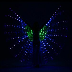 LED Isis Wings with Flexible Sticks - GREEN BLUE PURPLE