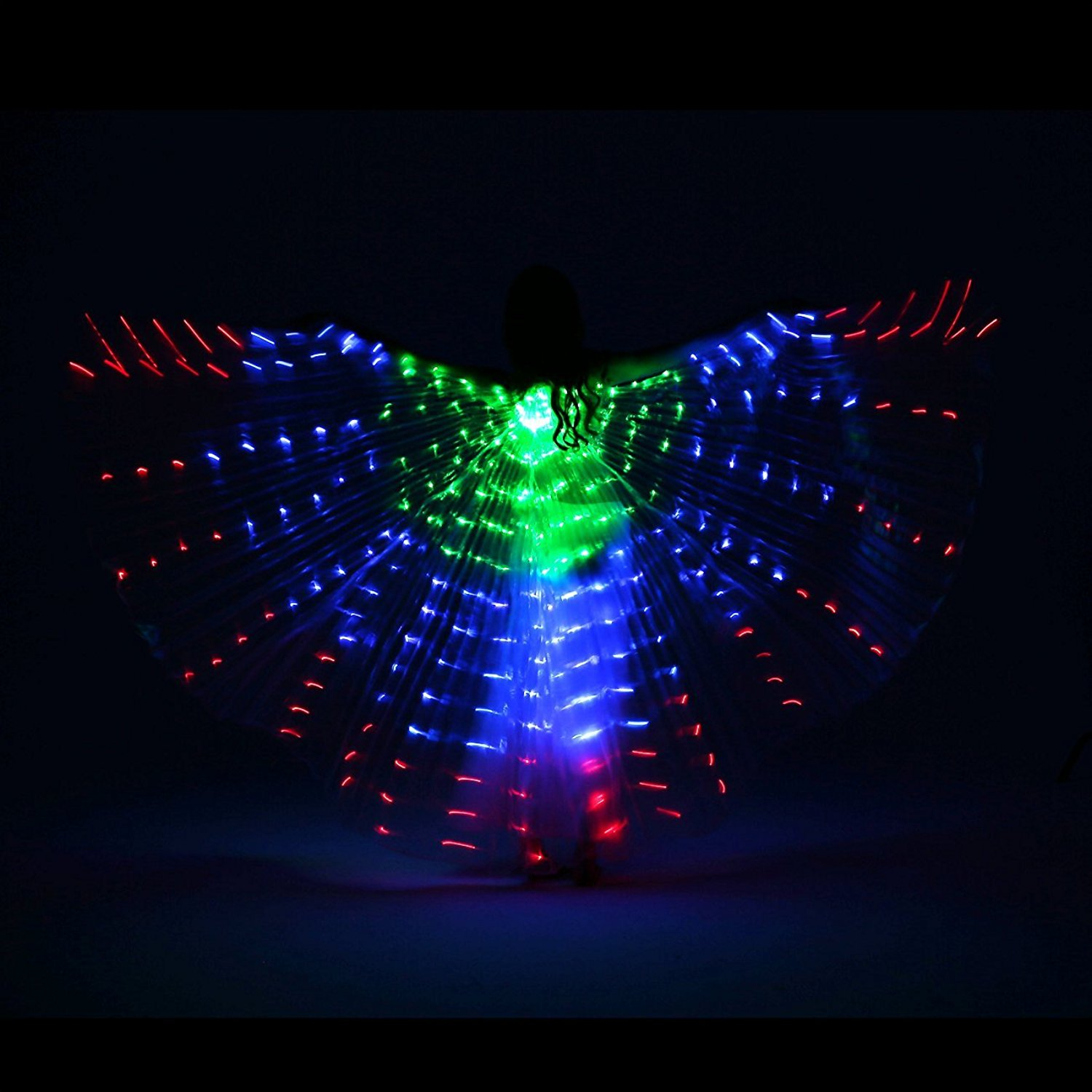 LED Isis Wings with Flexible Sticks - GREEN BLUE RED