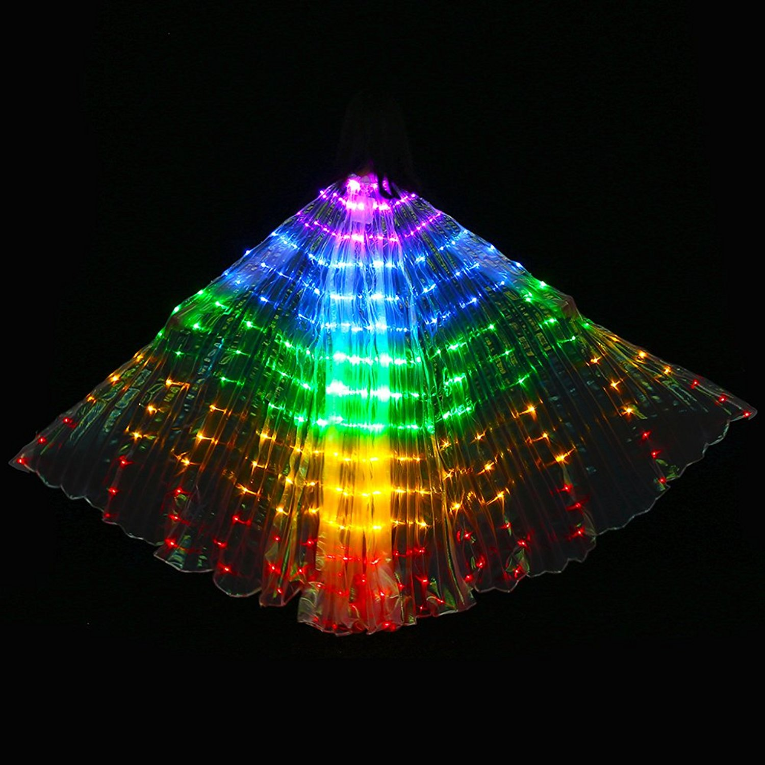 LED Isis Wings with Flexible Sticks - PURPLE BLUE GREEN YELLOW RED