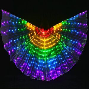 LED Isis Wings with Flexible Sticks - RED YELLOW GREEN BLUE PURPLE