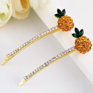 Pineapple Shape Rhinestone Inlaid Hair Clip - Yellow