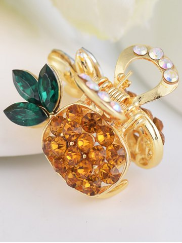 Pineapple Shape Rhinestone Inlay Hair Clip - Yellow