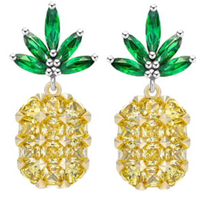 Rhinestone Pineapple Earrings - Yellow