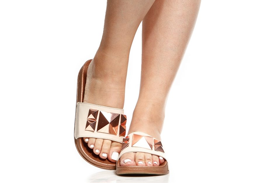 Rose Gold Faux Leather Embellished Slide Sandals