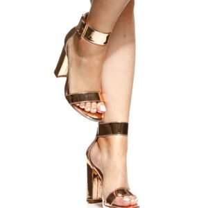 Rose Gold Faux Patent Leather Chunky Ankle Strap Heels