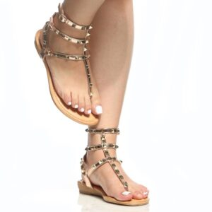 Rose Gold Faux Patent Leather Studded Sandals