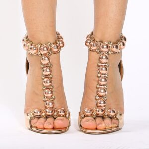 Rose Gold Faux Patent Leather T Strap Single Sole Heels