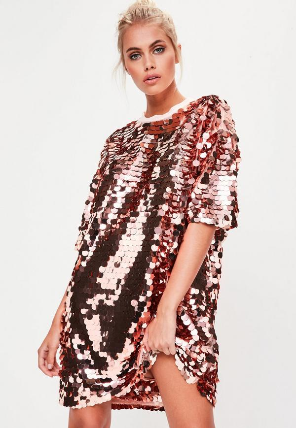1de80142be3 Rose Gold Sequin T-shirt Dress - Women of Edm