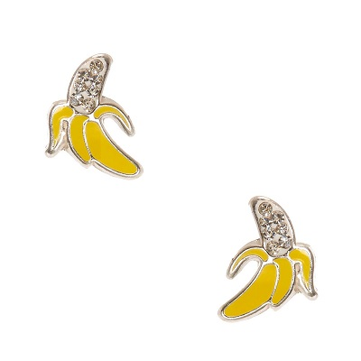 Sterling Silver Banana Crystal Earrings