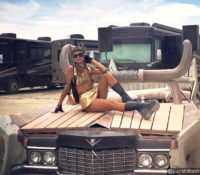 DJ Paris Hilton in Goddess Attire at Burning Man