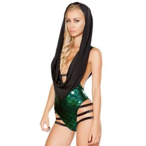 Green Strappy Hooded Mermaid Romper