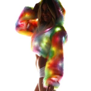 Tie Dye Rainbow Light Up Faux Fur Long Sleeve LED Hooded Jacket