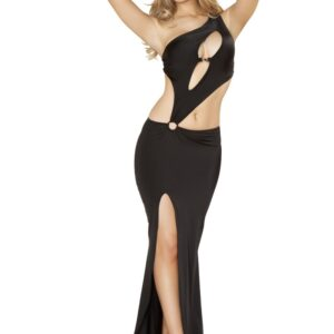 Black Cut Out Front Slit Maxi