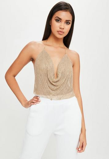 carli bybel x missguided gold chain mail cowl bralette