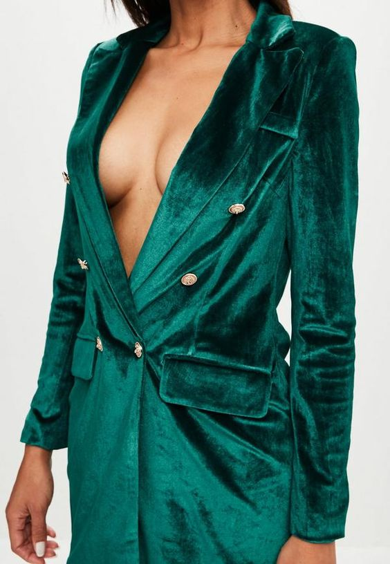 Green Velvet Gold Button Blazer Dress