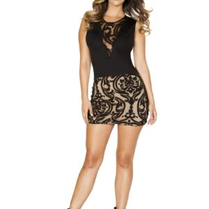 Sexy Black Nude Two Tone Damask Print Short Clubwear Dress
