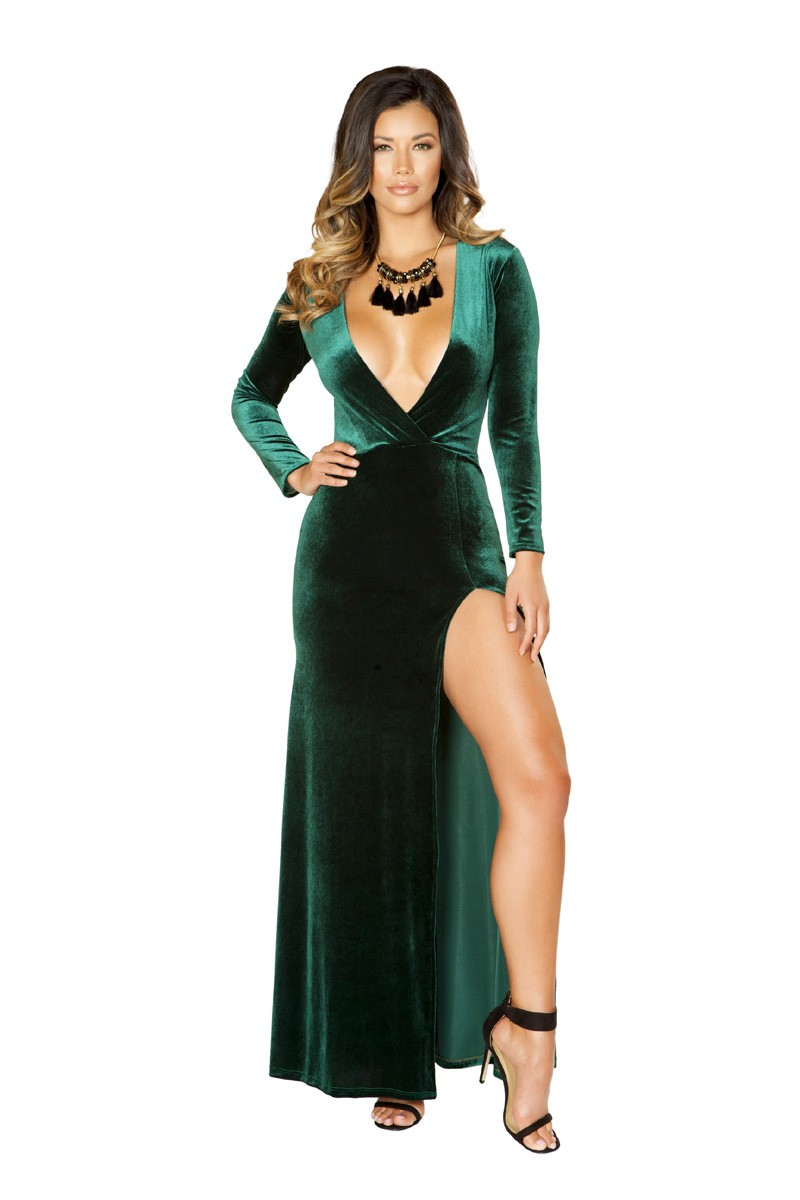 Sexy Green Faux Velvet Side Slit Maxi Formal Dress
