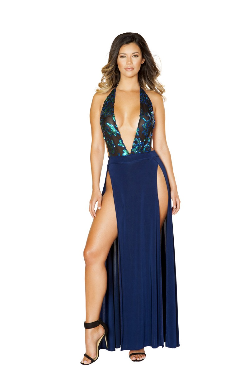 Sexy Navy Blue Black Sequins High Slit Maxi Dress