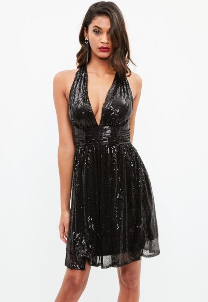 Black Sequin Cross Back Dress