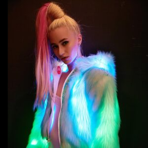 J Valentine Light-Up Aqua Tip Fur Crop Jacket