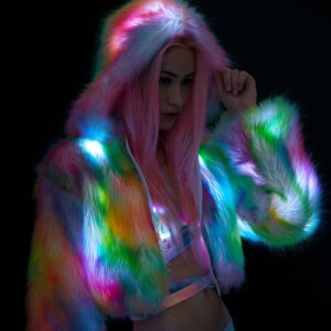 J Valentine Rainbow Flashing Lights Cropped Jacket