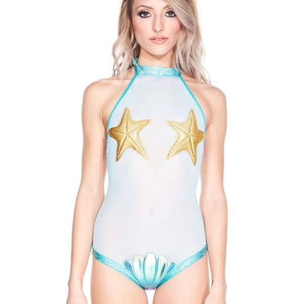 Sea Queen Sheer Mesh Mermaid Bodysuit One Piece