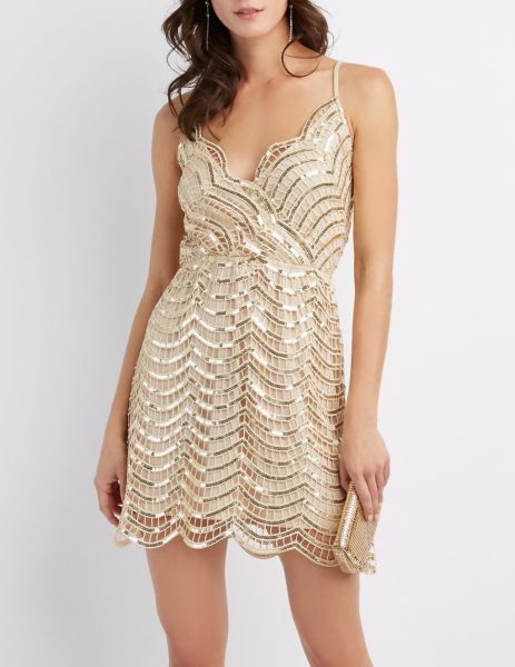 Sequins Surplice Skater Dress